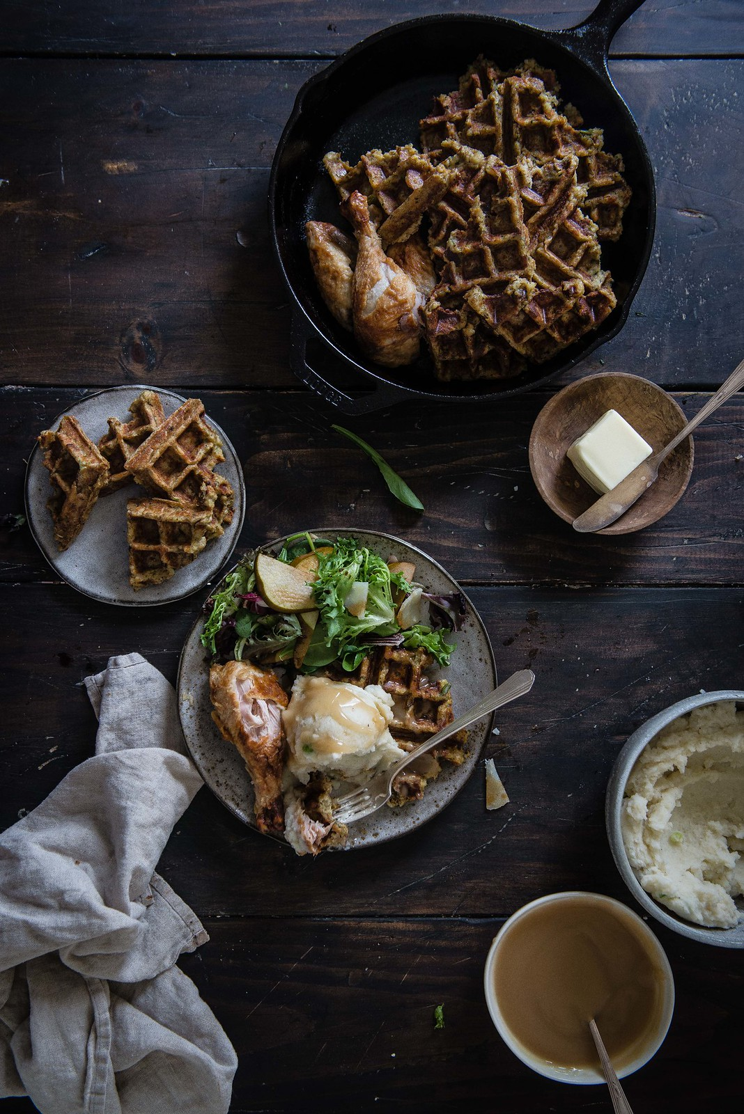 thanksgiving leftover stuffing waffles! | two red bowls
