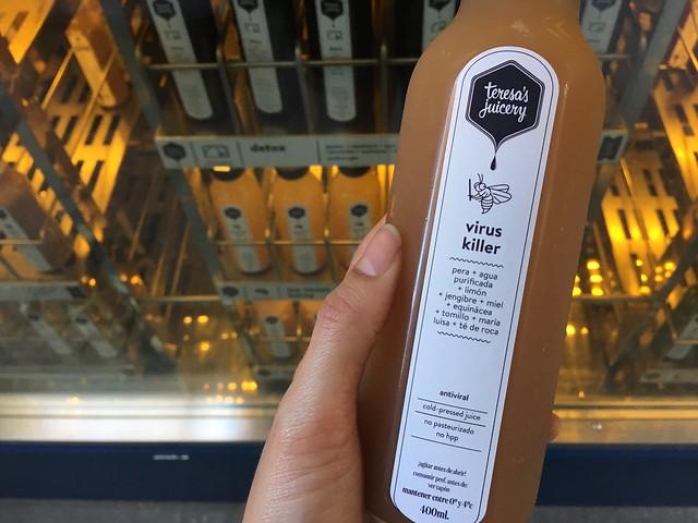 virus killer cold-press juice from Teresa's Juicery Barcelona