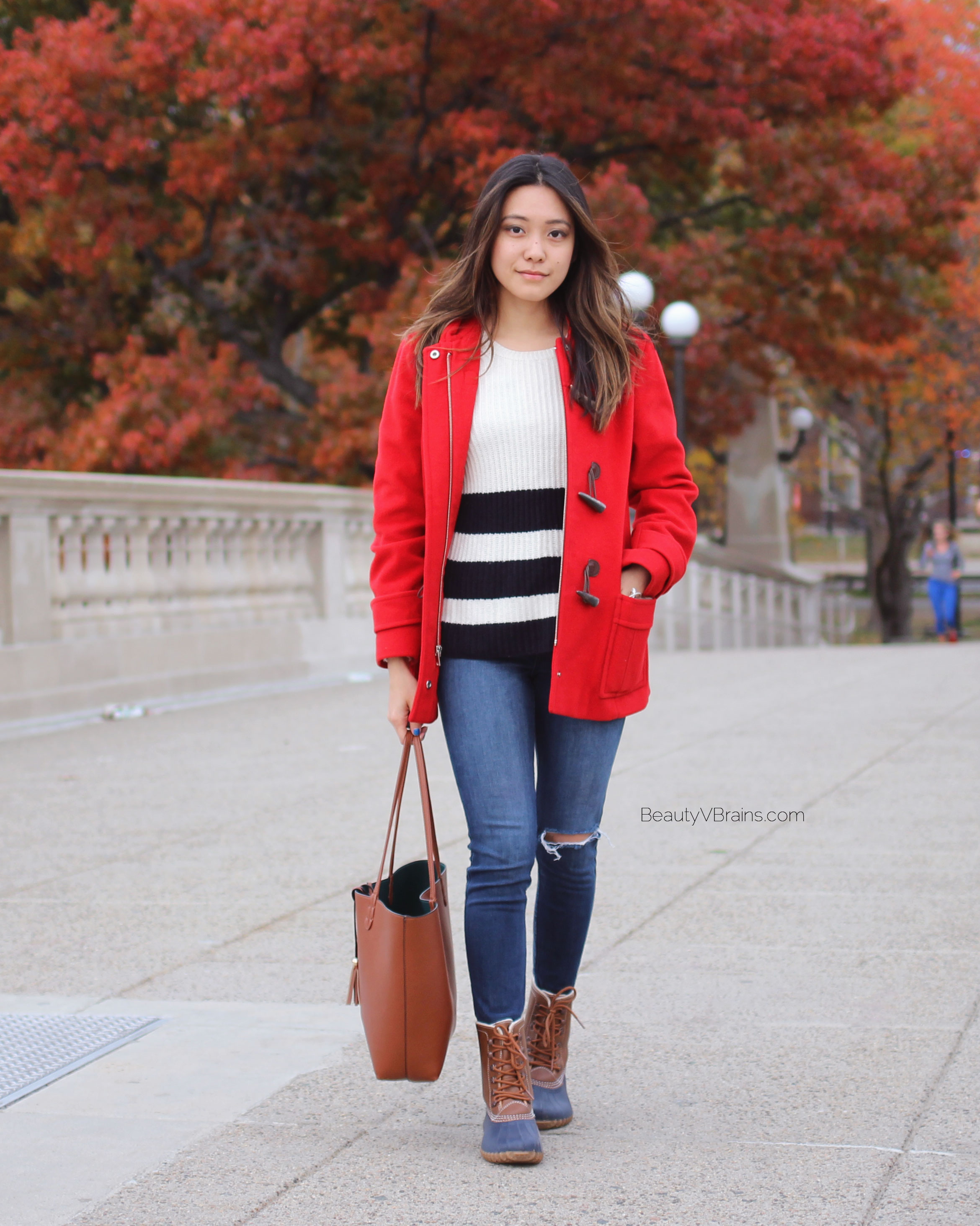 Red toggle coat and duck boots fall outfit