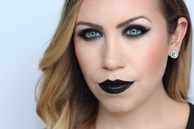 Goth Halloween Makeup Dark Metallic Black Smoky Eye Black Lipstick