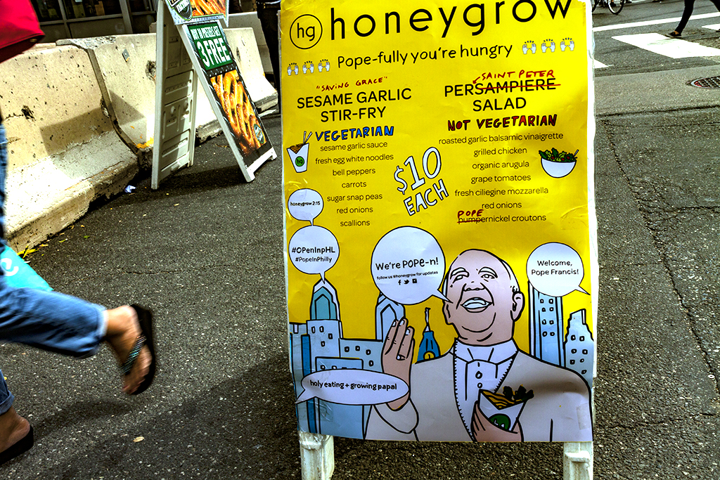 Honeygrow's menu sign for Pope Francis' visit--Center City