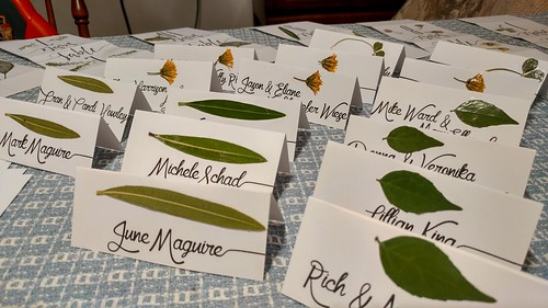 Escort Cards with Pressed Leaves