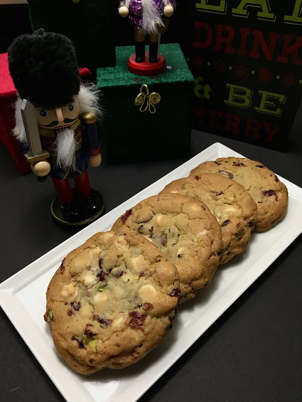 White Chocolate, Cranberry, and Pistachio Cookies