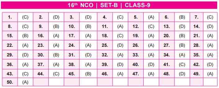 NCO Answer Key Set B Class 9