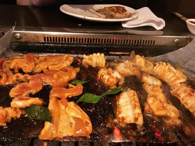 Pork bulgogi and squid.