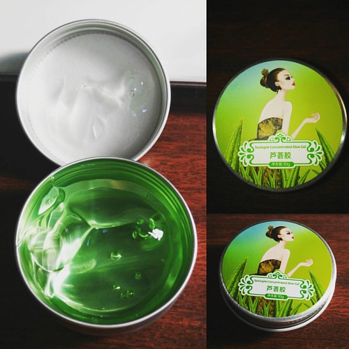 Aloe gel from China )) Using for first time, feels nice on my face. #aloe #creams #meself #girlstuff #aliexpress
