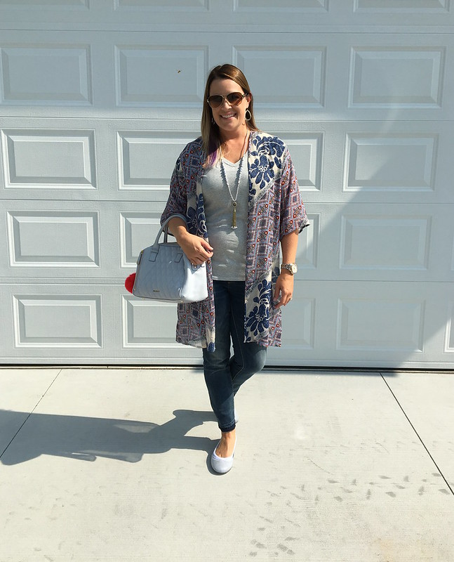 Kimono with Perfect White Tee from Thirty Something Fashion