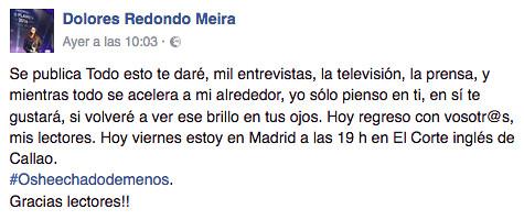 Mensaje de Dolores Redondo