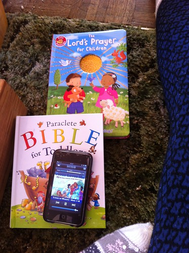 Our Paraclete Toddler Bible and The Lord's Prayer for Children, with my iPod on top.