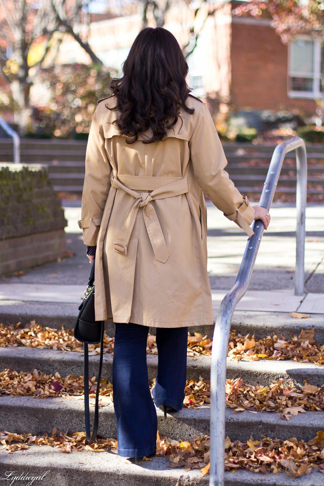 polka dot blouse, flared jeans, trench coat-10.jpg