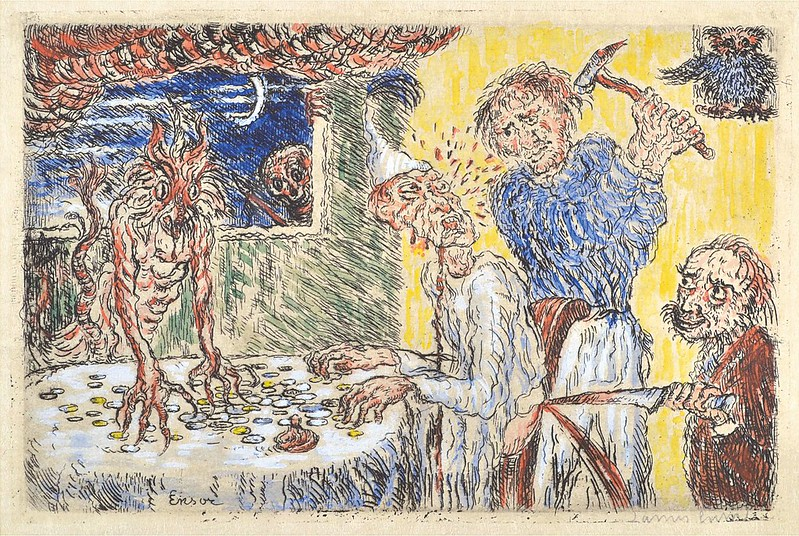James Ensor -  Avarice (L'Avarice) from The Deadly Sins (Les Péchés capitaux) colored, 1904