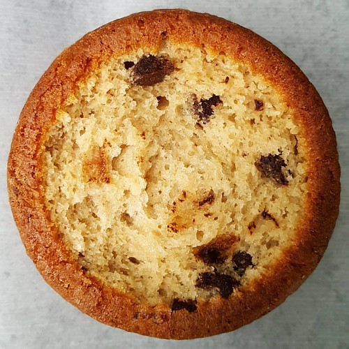 Inside the muffin top of our chocolate chunk muffin.  P.s. It's yummy!!! 🍫🍞❤