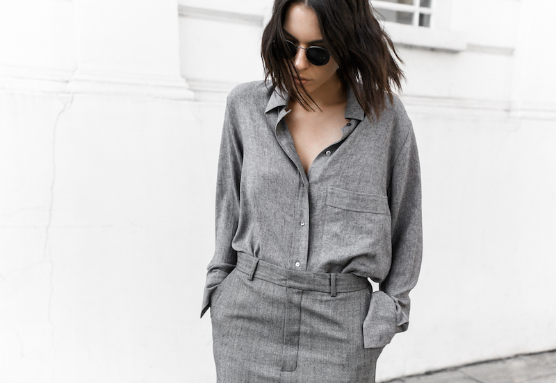 all grey texture outfit inspo RAEY MatchesFashion.com coat sneakers street style modern legacy fashion blogger monochrome minimal (2 of 13)
