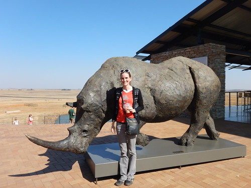 Tourist photo with the rhino statue