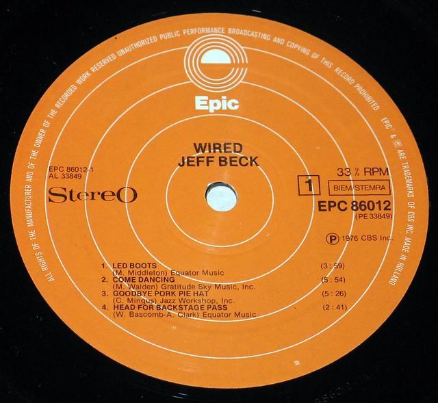 """Jeff Beck Wired 12"""" vinyl LP"""