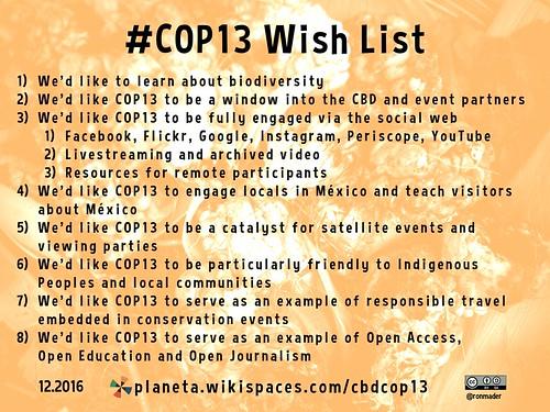 #COP13 Wish List