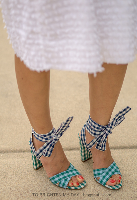 J.Crew mixed gingham sandals with ankle wrap in blue emerald