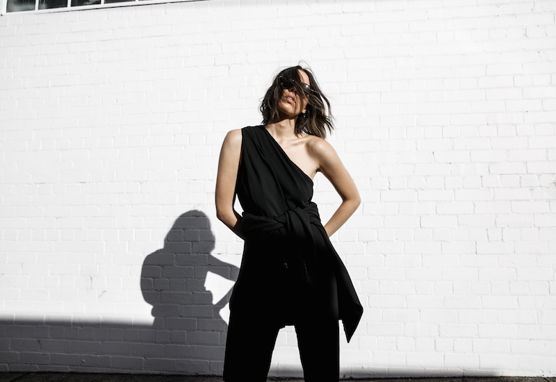 Givenchy one shoulder trend jumpsuit all black street style inspo fashion blogger Antigona minimal modern legacy yoox (3 of 13)