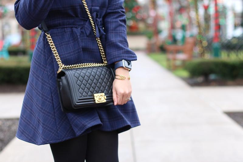 blue-plaid-shirt-dress-chanel-boy-bag-4