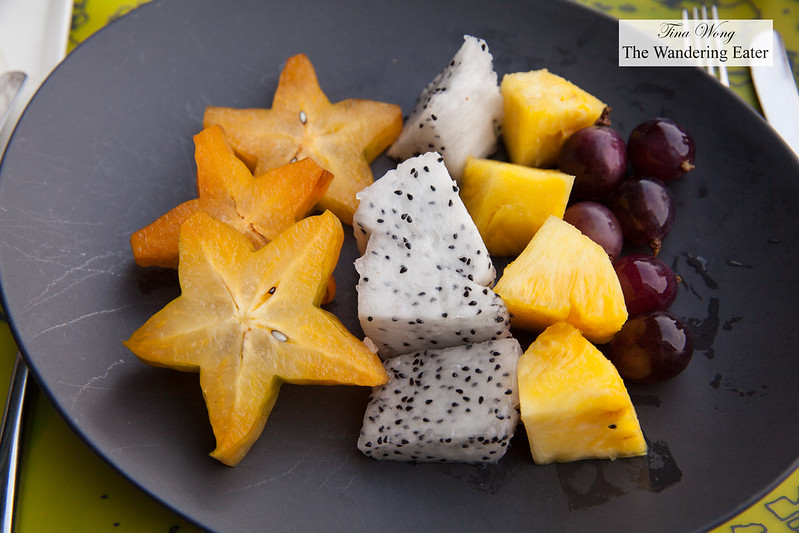 Star fruit, dragon fruit, pineapple and local Taiwanese grapes