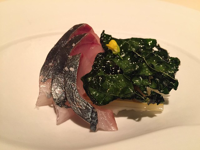 Lightly roasted striped jack (Shima-aji) and brassicas