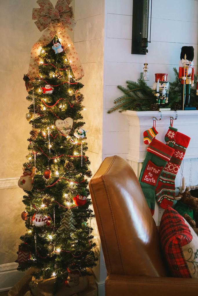 Slim Christmas Tree |Traditional Modern |Transitional Christmas Living Room Decor | Holiday Decorations
