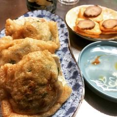 inari gyoza, iburi gakko cheese cracker & beer❤︎  #iburigakko #いなり餃子 #inarigyoza #osaka #いぶりがっこう #大阪 #levaincrackers