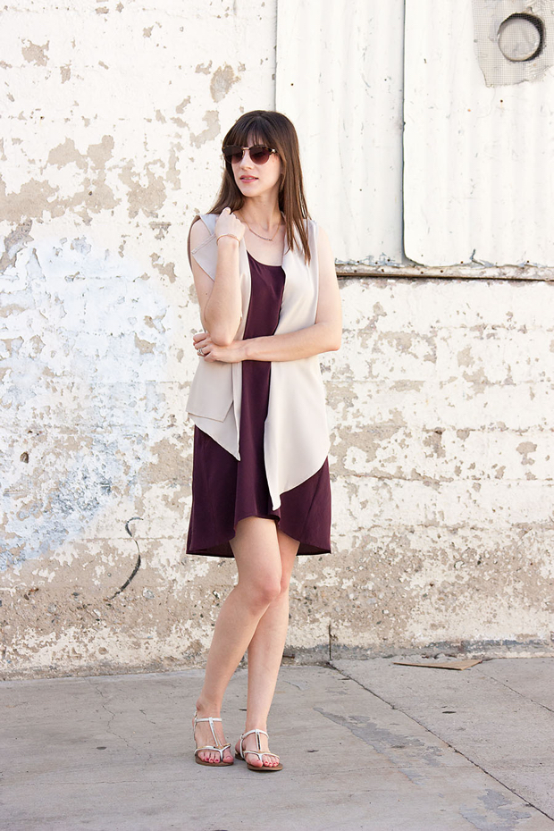 Everlane Sleeveless Silk Dress, Sleeveless Waterfall Vest