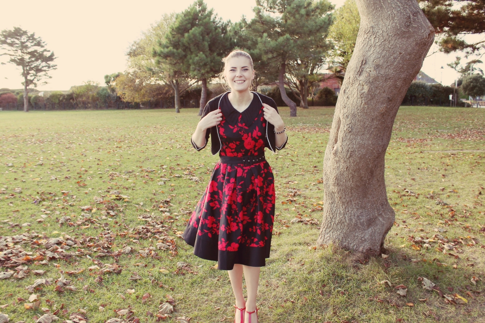 Dolly and Dotty Hazel Red and Black Floral Dress via www.lovebirdsvintage.co.uk