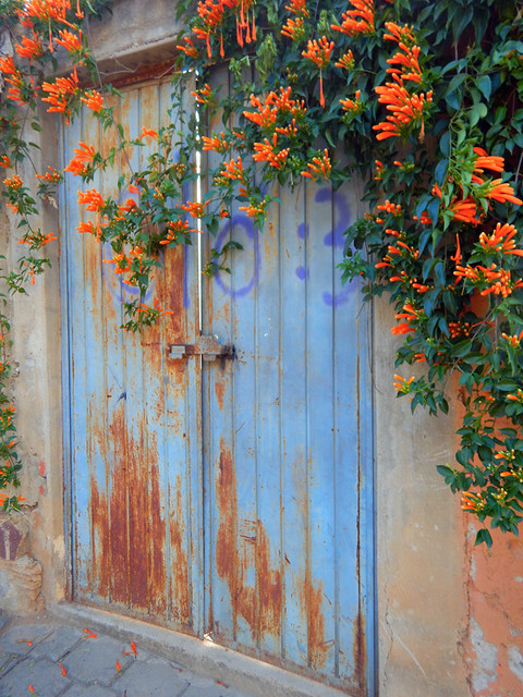 Bright red flowers draped a blue door in Talpa, one of Mexico's Pueblos Magicos in the Pacific high sierras