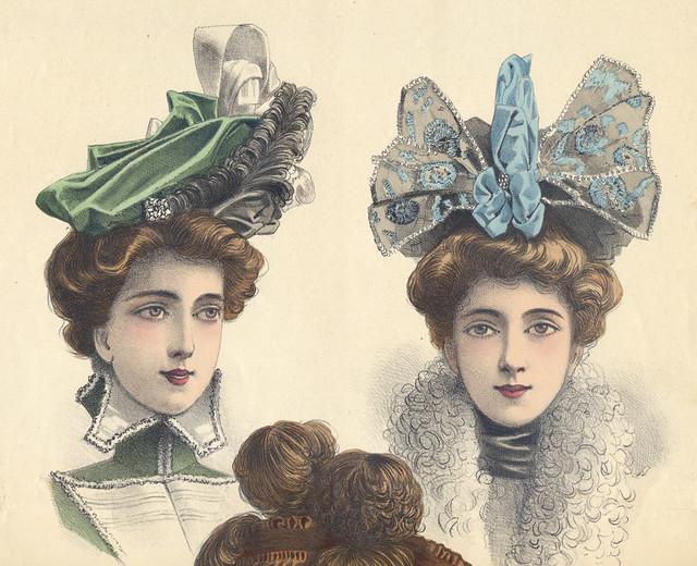 Gravure ancienne, magazine de modistes Belle Epoque