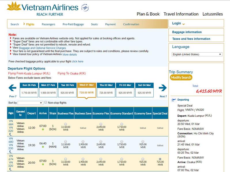 vietnam airlines osaka