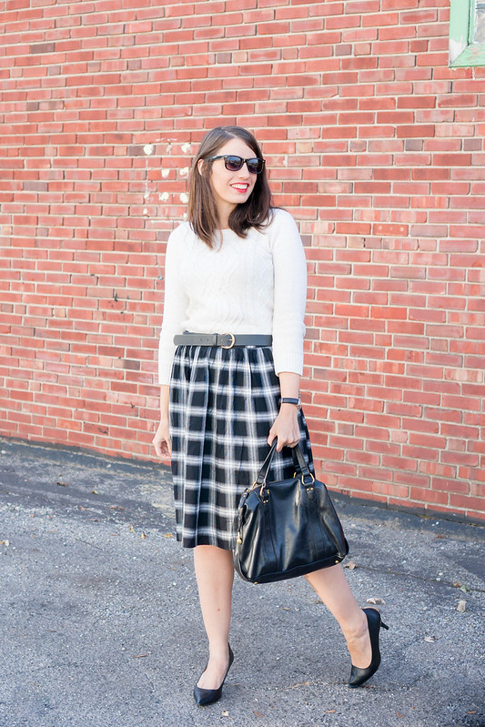 black and white plaid skirt + black heels + Target cable knit sweater; fall work outfit | Style On Target blog
