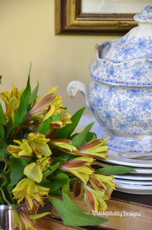 Blue and White Transferware Sugar Bowl - Antique Books - Housepitality Designs