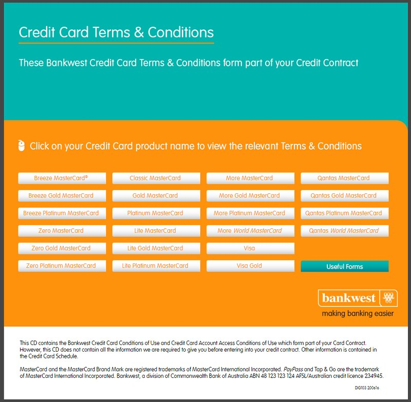 BankWest terms and conditions