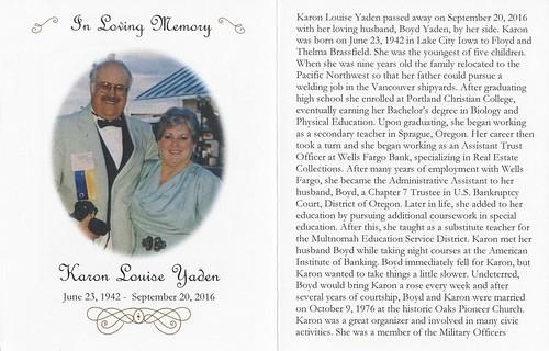 Les Parker Funeral Card 1