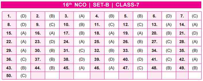 NCO Answer Key Set B Class 7