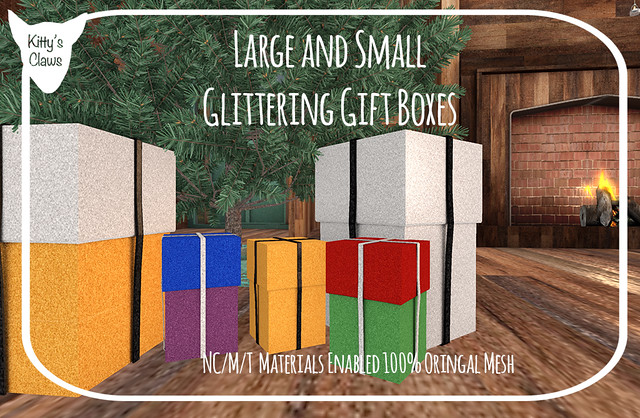 Large and Small Glittering Giftboxes