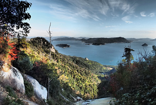 Panorama View from walk up to top of Mount Misen Miyajima Island