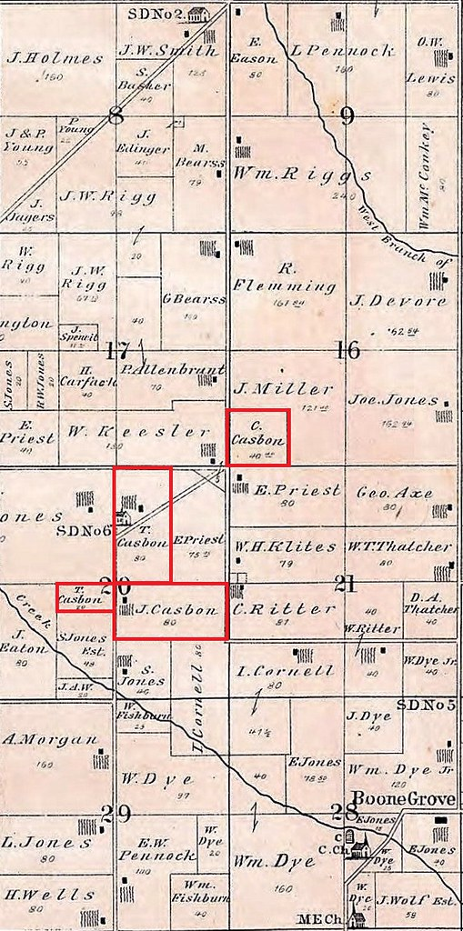 1876 Casbon land closeup Porter twp