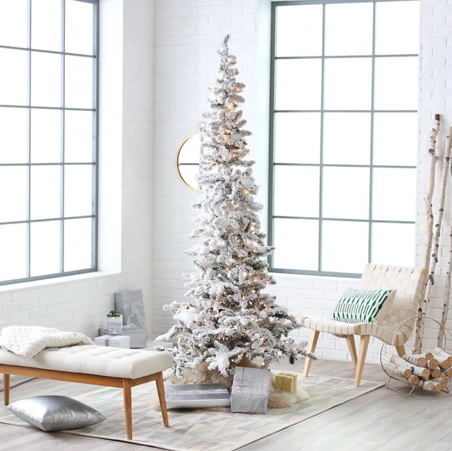 Slim White Christmas Tree Holiday Decorating for Small Apartments