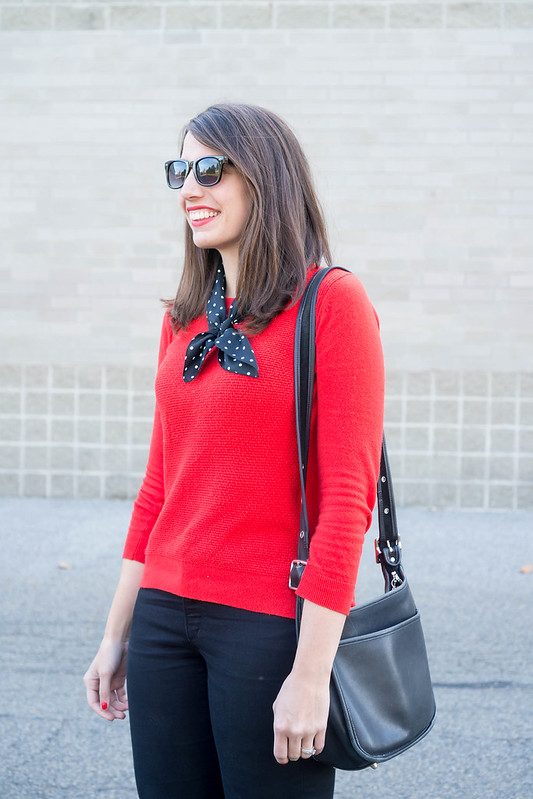 loft red sweater + black loft jeans + target black ankle boots + polka dot silk scarf; casual fall outfit | Style On Target blog