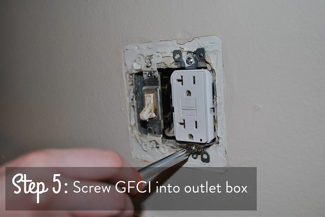 Step 5 screw outlet into outlet box