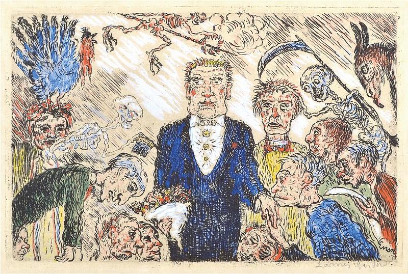 James Ensor - Pride (L'Orgeuil) from The Deadly Sins (Les Péchés capitaux) colored, 1904