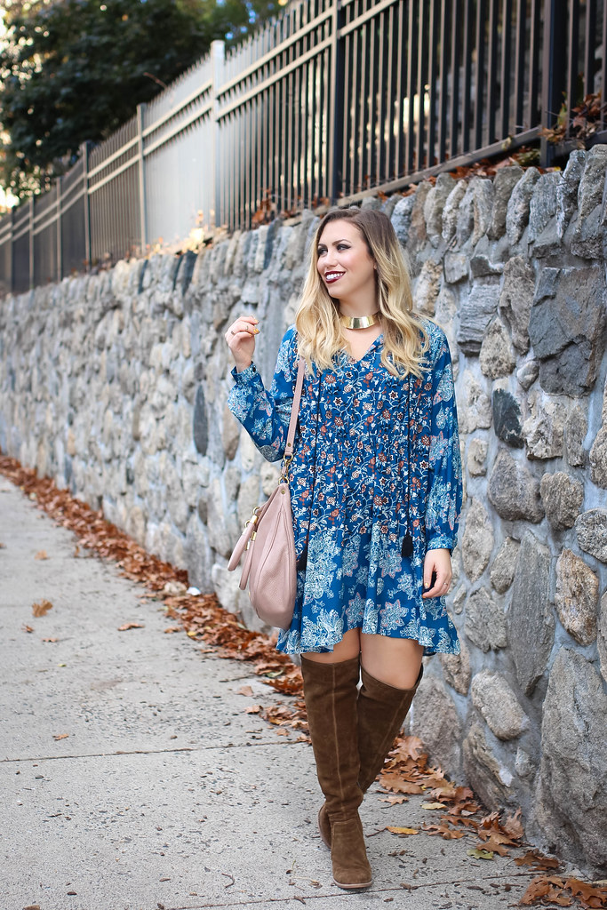 Blue Boho Dress Vince Camuto Melaya Over the Knee Bark Suede Boots Blush Hobo Bag Fall Casual Outfit Living After Midnite Fashion Jackie Giardina
