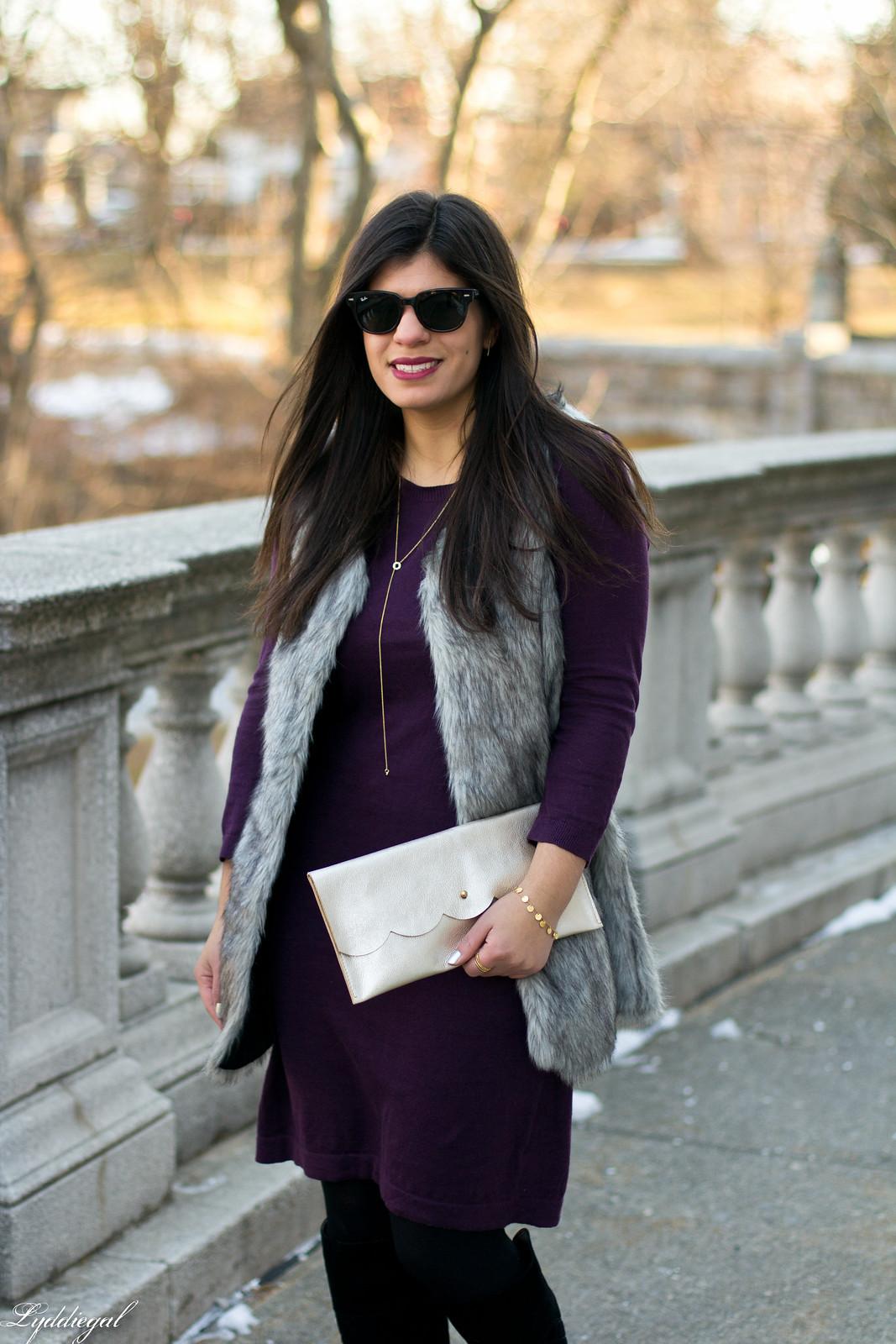 Swap Burgundy Sweater Dress, fur vest, matine clutch-3.jpg