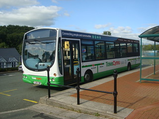 TrawsCymru T5 bus in Haverfordwest, with branding showing place names from along the highly indirect routes