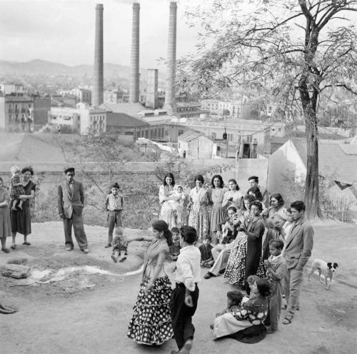 Gitans sur la colline de Montjuic  dans les années 1960.