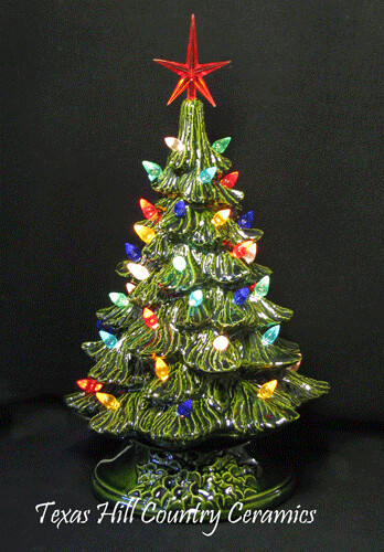 Green Ceramic Christmas Tree On Electric Lighted Stand 9 I