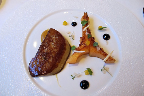 foie gras and melon with calisson emulsion (!) | by David Lebovitz